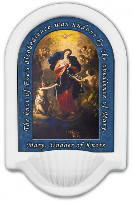 Mary Undoer of Knots with Prayer Holy Water Font