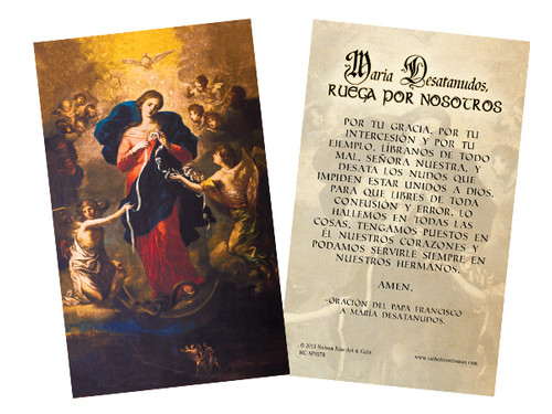 Spanish Mary Undoer of Knots Pope Francis' Prayer Holy Card