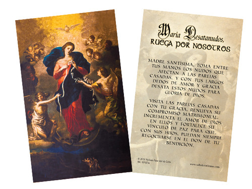 "Spanish Mary Undoer of Knots ""Madre Santisima"" Prayer Holy Card"