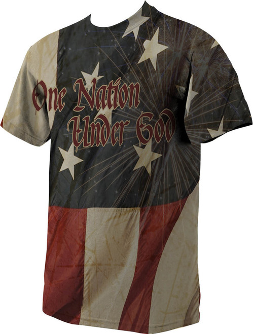American Flag Graphic Poly T-Shirt