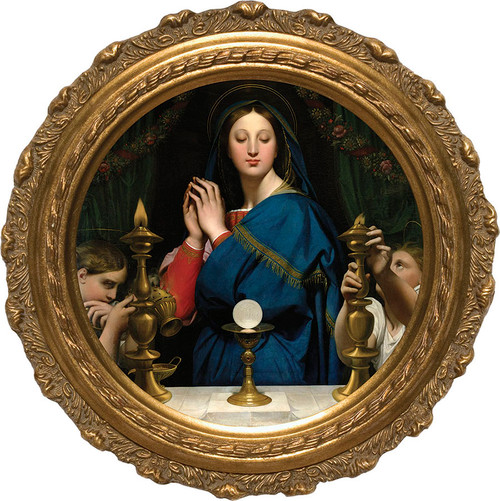 Madonna of the Host - Round Framed Canvas