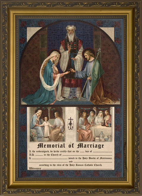Wedding of Joseph and Mary Memorial of Marriage Gold Framed