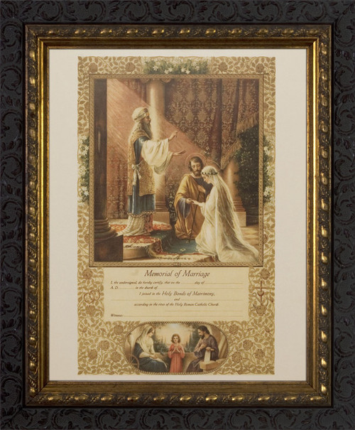 Wedding of Joseph & Mary Memorial Certificate of Marriage (From Original Lithograph) - Ornate Dark Frame