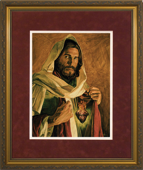 Sacred Heart of Jesus by Jason Jenicke - Matted Gold Framed Art