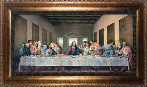 Last Supper by Da Vinci Restored - Bronze Framed Canvas