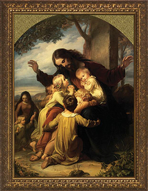 Jesus with the Children - Gold Framed Canvas