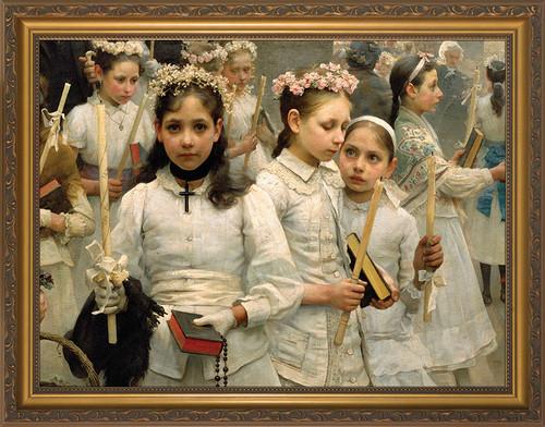 After the First Holy Communion (Detail 3 Girls) - Standard Gold Framed Art