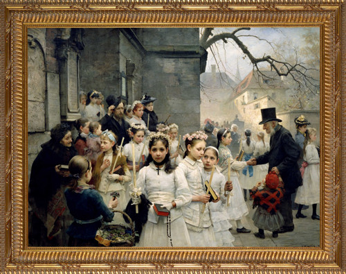 After the First Holy Communion - Ornate Gold Framed Art