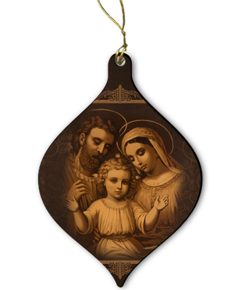 Sepia Holy Family Wood Ornament