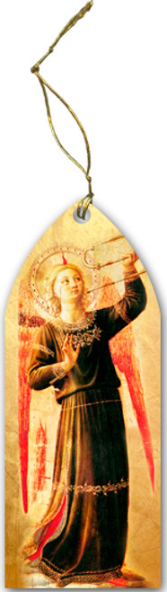 Fra Angelico Angel with Horn Wood Ornament