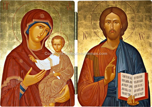 The Virgin of Hodegetria / Christ Pantocrator (gold) Icon Diptych