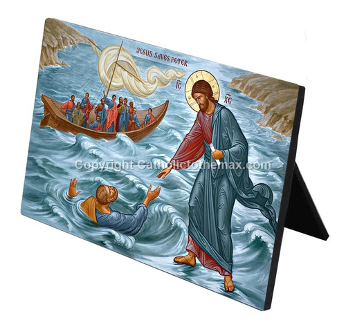 Jesus Saves Peter Icon Desk Plaque