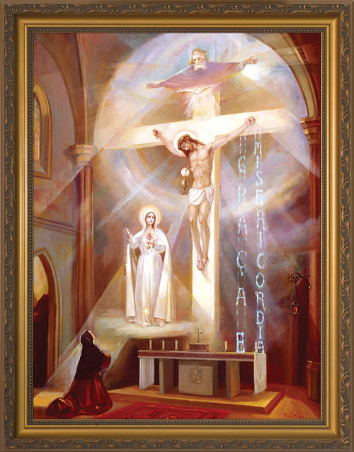Last Vision of Fatima Framed Art - Gold Frame