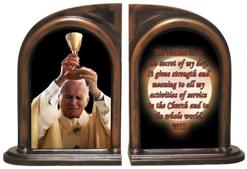 St. John Paul II Raising Chalice Bookends
