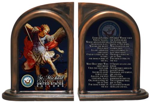 St. Michael Navy II Bookends