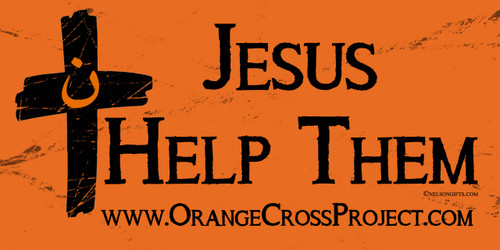 Orange Cross Project Jesus Help Them Martyr Solidarity Bumper Sticker