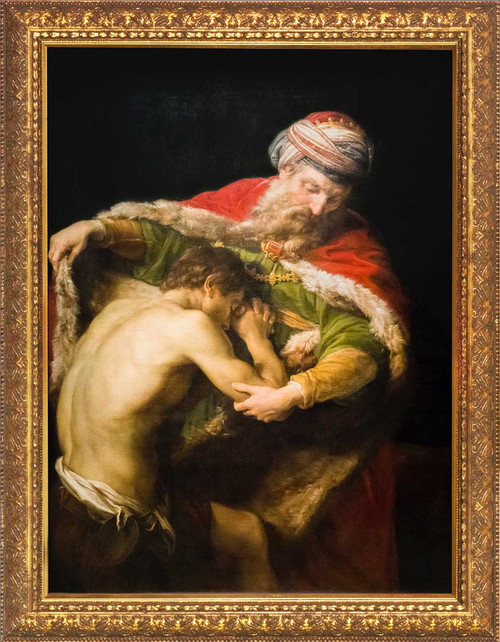 The Return of the Prodigal Son by Pompeo Batoni - Gold Framed Art