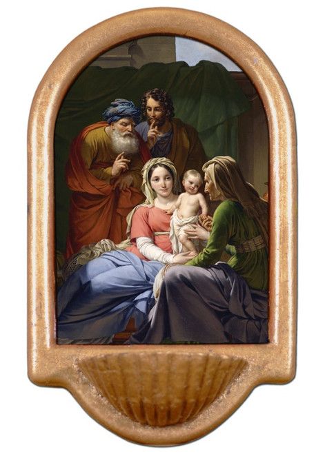 Holy Family with Grandparents Joachim and Anne Holy Water Font