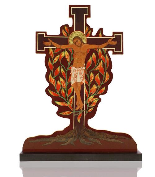 Burning Bush Crucifix on Pedestal