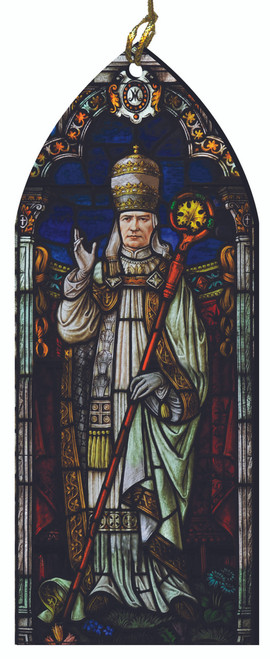 Pope St. Pius X Stained Glass Wood Ornament