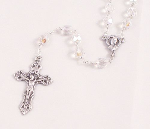 Clear 6mm Glass Bead Rosary