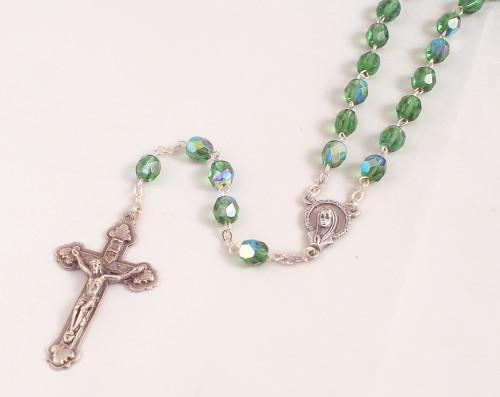Green 6mm Peridot Glass Bead Rosary