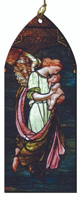 Guardian Angel Protecting Child Stained Glass Wood Ornament