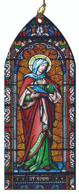 St. Anne Stained Glass Wood Ornament