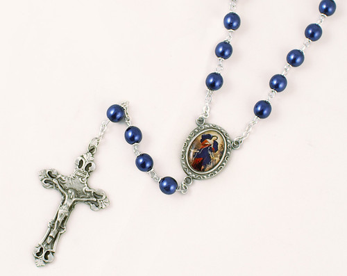 Mary Undoer of Knots 7mm Blue Pearl Rosary