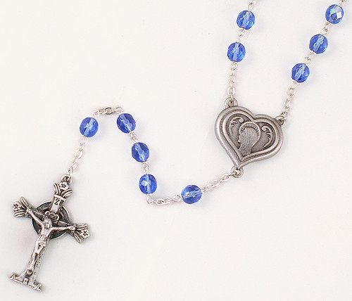 Lourdes Water 7mm Blue Glass Bead Rosary