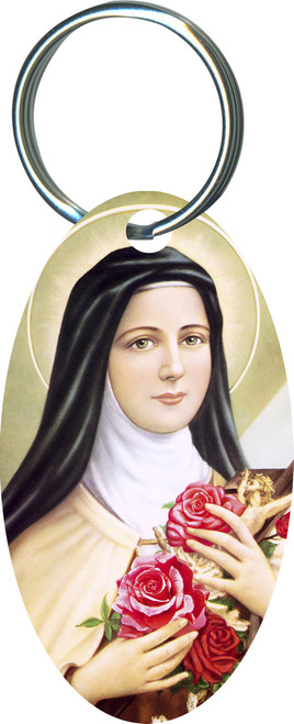 St. Therese of Lisieux Oval Keychain