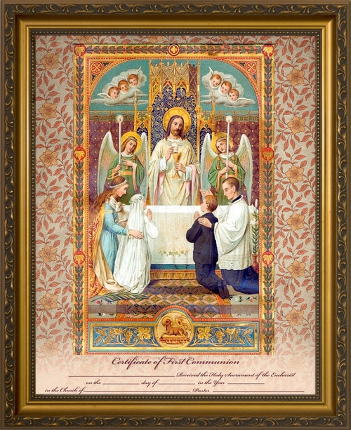 Traditional First Communion Sacrament Certificate with Angels in Gold Frame