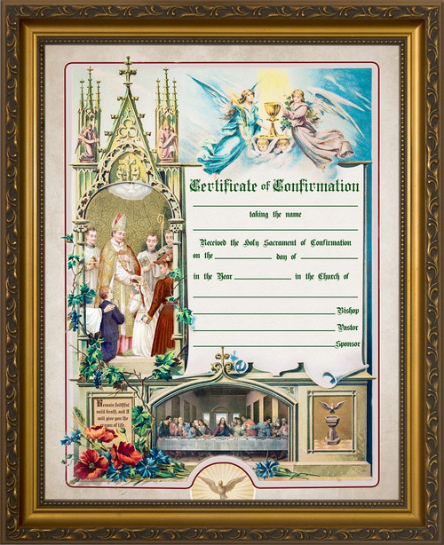 Traditional Confirmation Sacrament Certificate in Gold Frame