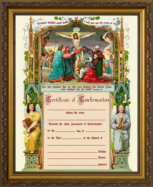 Traditional Confirmation Sacrament Certificate with Crucifixion in Gold Frame