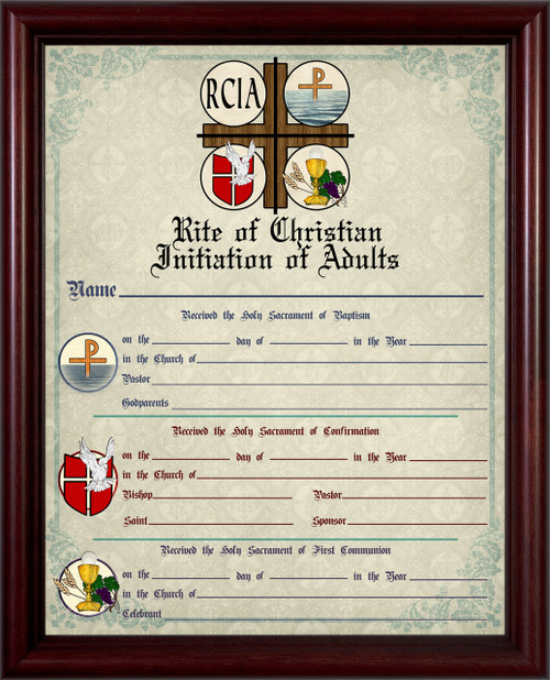 RCIA Sacrament Certificate of Initiation in Cherry Frame
