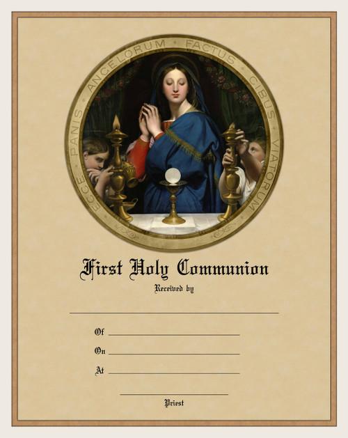 Modern First Communion Sacrament Certificate with Madonna of the Host Unframed