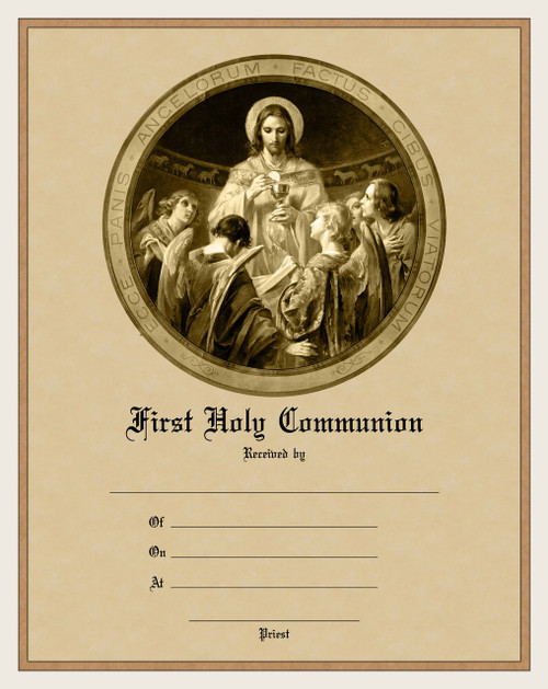 Modern First Communion Sacrament Certificate with Christ, Bread of Angels Unframed
