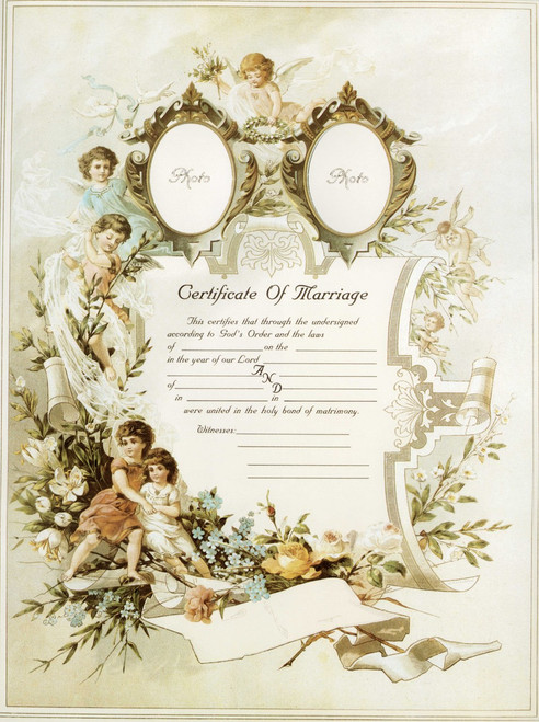 Traditional Marriage Sacrament Certificate with Angels Unframed