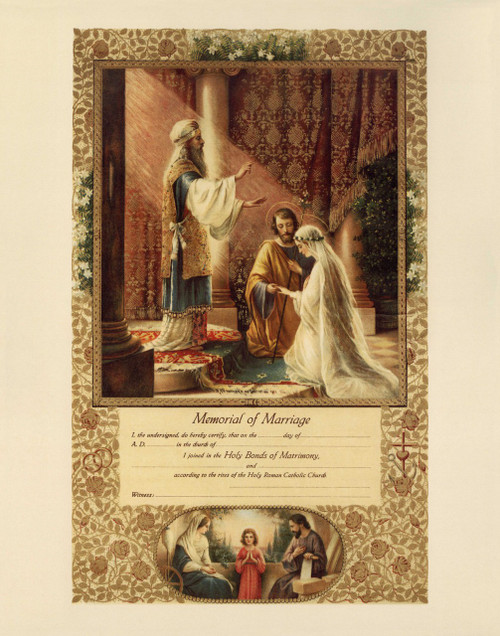 Wedding of Joseph & Mary Marriage Sacrament Certificate Unframed