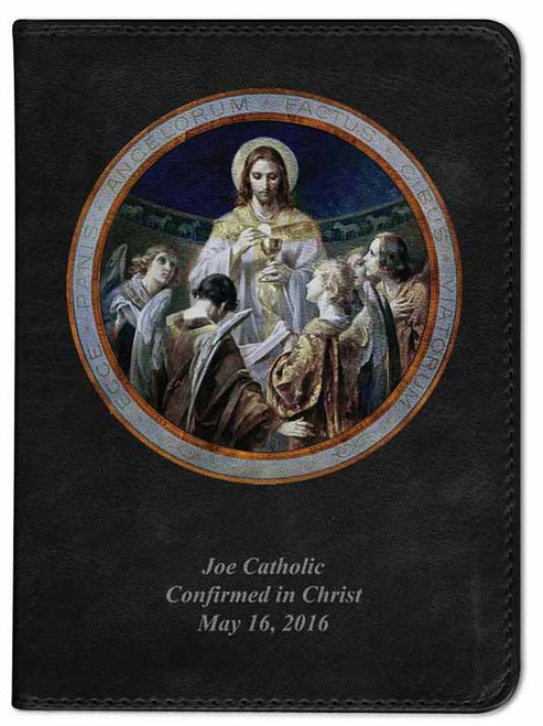 Personalized Catholic Bible with Christ, Bread of Angels - Black NABRE