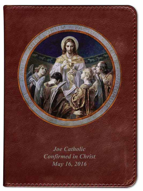 Personalized Catholic Bible with Christ, Bread of Angels - Burgundy RSVCE