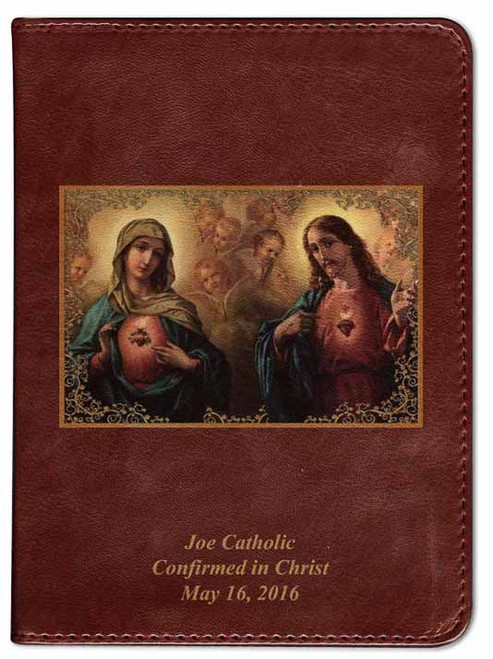 Personalized Catholic Bible with Sacred and Immaculate Hearts Cover - Burgundy RSVCE