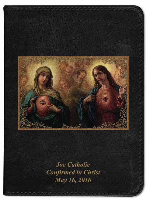 Personalized Catholic Bible with Sacred and Immaculate Hearts Cover - Black RSVCE