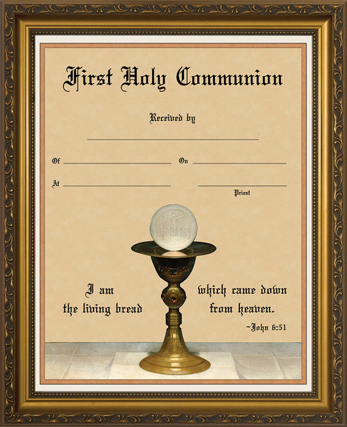 Eucharist with Chalice - Gold Framed Certificate