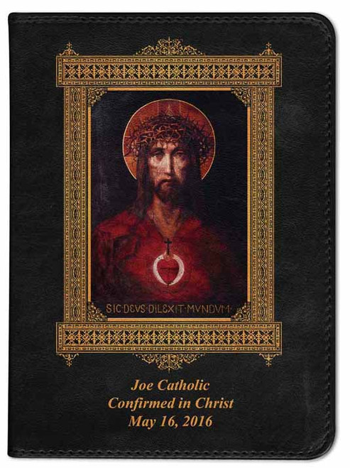 Personalized Catholic Bible with For God So Loved the World Cover - Black NABRE