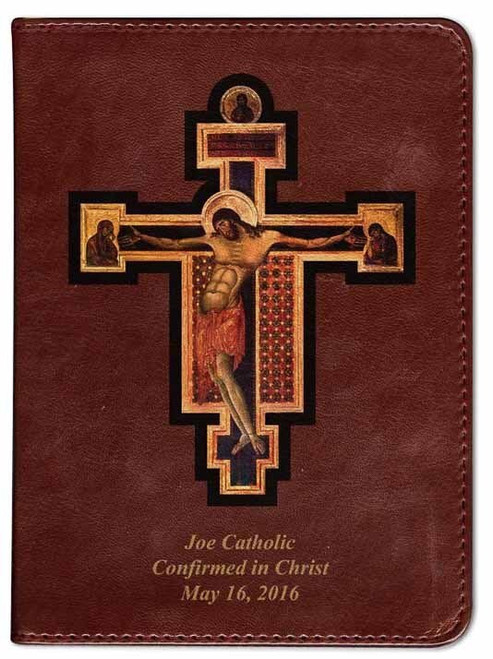 Personalized Catholic Bible with Byzantine Crucifix Cover - Burgundy RSVCE