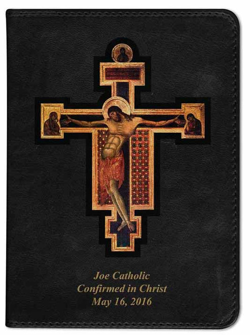 Personalized Catholic Bible with Byzantine Crucifix Cover - Black NABRE