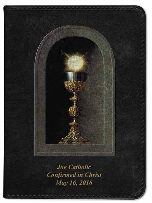 Personalized Catholic Bible with Eucharistic Cover - Black RSVCE