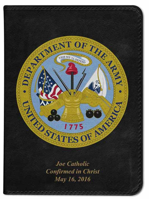 Personalized Catholic Bible with Army Cover - Black NABRE