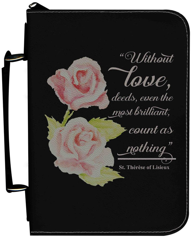 Personalized Bible Cover with St  Therese Rose Graphic - Black